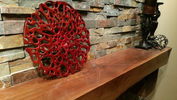 Coral inspired, blood wood carving - This is not a stain, this is the wood's natural color with a shellac finish. Absolutely stunning!