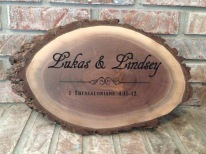 These natural live edge walnut carvings made for perfect customized wedding gifts!