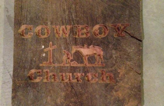 Old oak barn wood carving for Just as I am Cowboy Church in Paris, MO