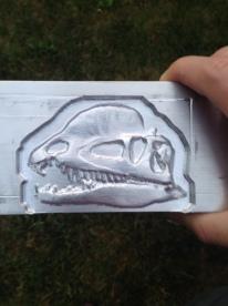3D aluminum dinosaur fossil