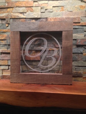 Reclaimed walnut and engraved acrylic shop sign