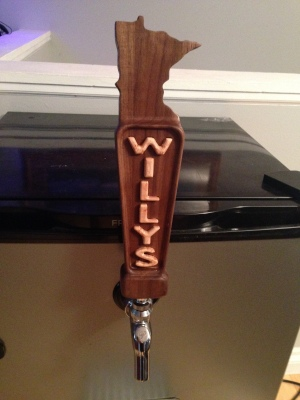 Custom walnut and maple beer tap handle - made for home-brewer Will 's kegerator in Minnesota